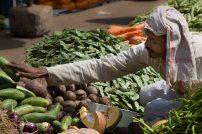 """Mies myy vihanneksia. Kurkkuja, tomaatteja, isoja punajuuria, pieniä munakoisoja, papuja porkkanoita ja olisiko joku lohko kurpitsaa myös. Hän asettelee myytävät tuotteet huolella esille eikä pidä kauheasti meteliä, niin kuin aika monet muut kauppiaat: """"papuja, papuuja, papuuuja, PAPUJA!""""."""